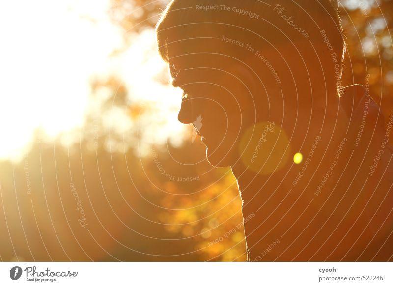 some beautiful moment... Mensch Jugendliche Mann Erholung ruhig Junger Mann 18-30 Jahre Erwachsene Wärme Herbst Denken Kopf hell träumen Stimmung braun