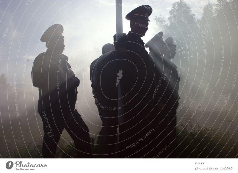 Police Licht Sommer Polizist Nebel light day policeman sun fog Graffiti Sonne Außenaufnahme