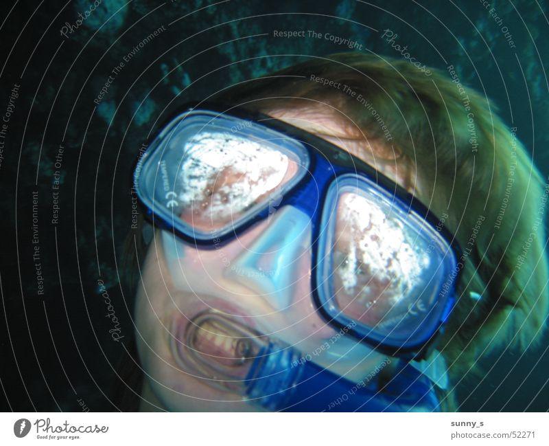 Blubb tauchen Schnorcheln Selbstportrait Taucherbrille Unterwasseraufnahme