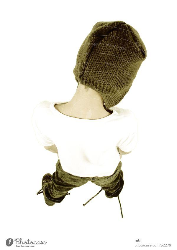 kind*** Kind Mütze Kopfbedeckung braun weiß T-Shirt Vogelperspektive Junge Rücken oben