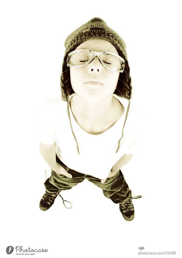 kind** Kind weiß Junge oben träumen braun planen T-Shirt Brille Sonnenbrille Erscheinung