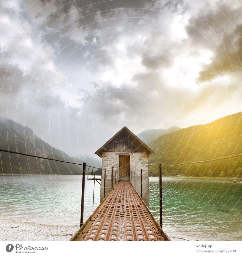 haus am see Umwelt Natur Landschaft Pflanze Tier Wasser Hügel Felsen Alpen Berge u. Gebirge Küste Seeufer Bucht Haus Hütte eckig schön ruhig Gebirgssee Farbfoto