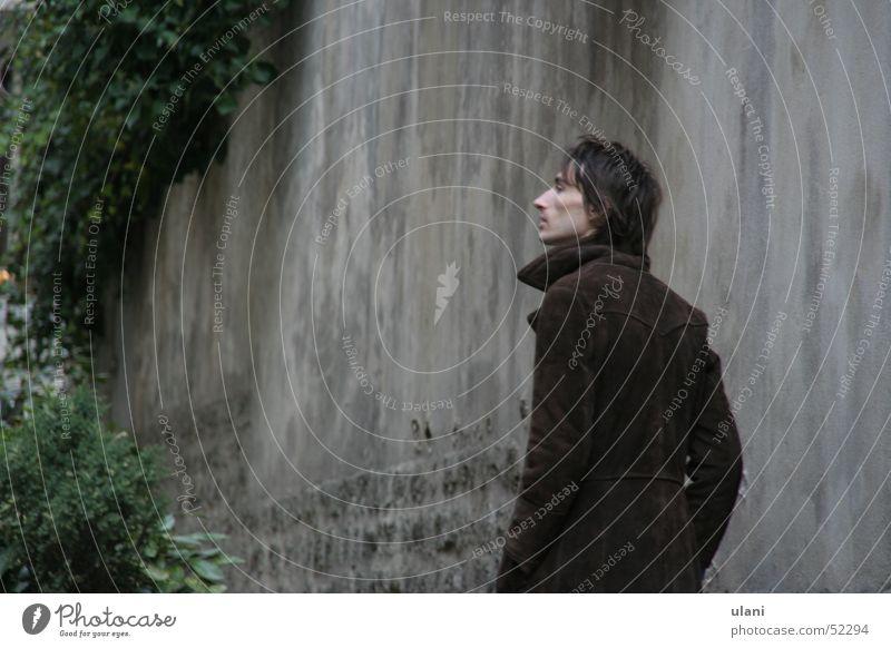 in Paris Mann Herbst Traurigkeit Denken braun trist Mantel