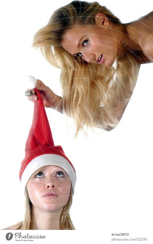 santa´s little helpers Frau Weihnachten & Advent weiß schön rot Freude Winter feminin Haare & Frisuren Luft blond gold fliegen Mütze Engel Weihnachtsmann