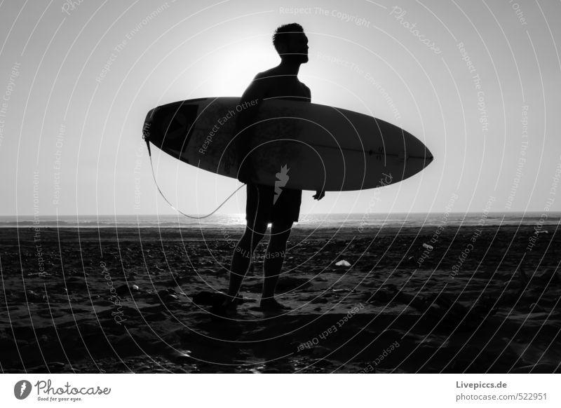 Surf_Dännit 3 Ferien & Urlaub & Reisen weiß Sommer Meer Freude schwarz Sport grau Schönes Wetter Surfen