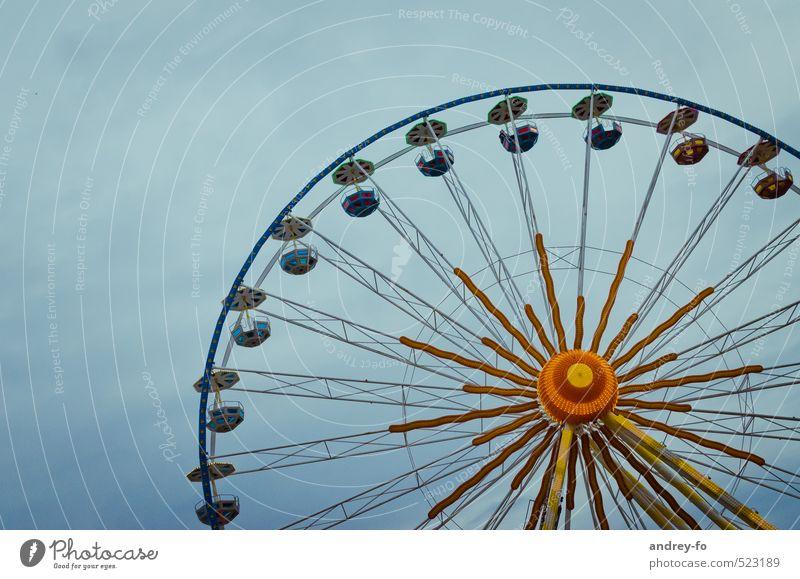 Riesenrad Freizeit & Hobby leuchten schaukeln rund Stadt Freude Höhenangst Abenteuer Angst Bewegung Symmetrie Radius Kugel Jahrmarkt Feste & Feiern drehen hoch