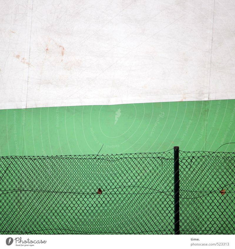 Kleines Tennis, nurmehr Stadt grün weiß schwarz Wand Mauer Metall Fassade trist kaputt Vergänglichkeit Wandel & Veränderung Hamburg Schutz Netzwerk Kunststoff