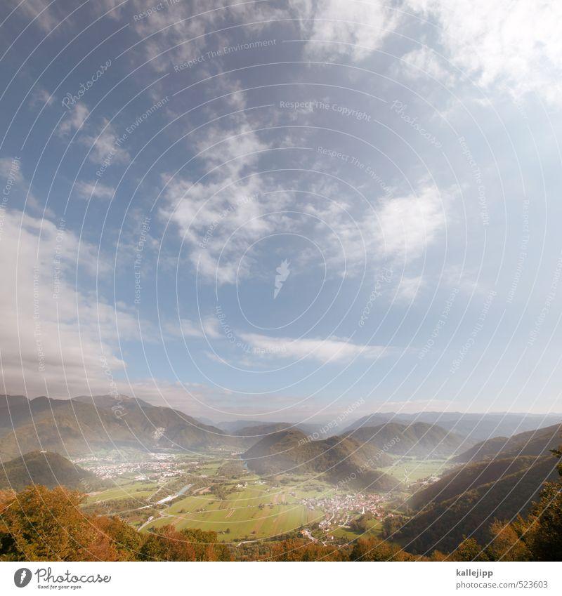 soča Umwelt Natur Landschaft Pflanze Tier Himmel Wolken Schönes Wetter Nebel Baum Wiese Feld Hügel Alpen Berge u. Gebirge schön Tal Soča Slowenien
