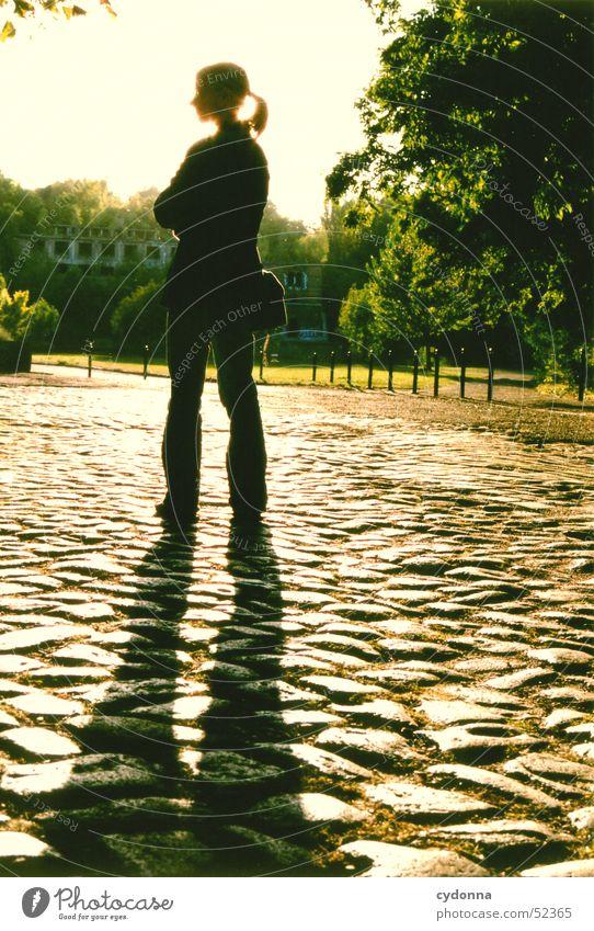 Standbild Licht Sommer grün Park Strahlung Saale schwarz Silhouette unterwegs Aktion Mensch Gefühle Schatten Lagerhalle Sonne Natur Pflastersteine stehen