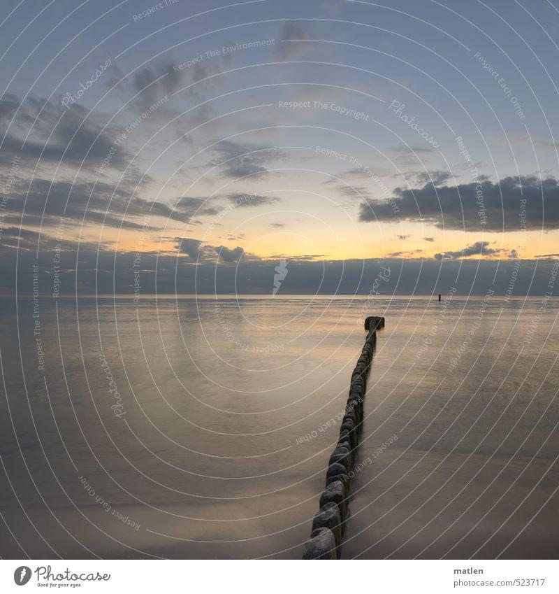 es gab so Tage Natur Landschaft Wasser Himmel Wolken Horizont Sonnenaufgang Sonnenuntergang Herbst Wetter Schönes Wetter Meer Menschenleer blau grau rosa ruhig