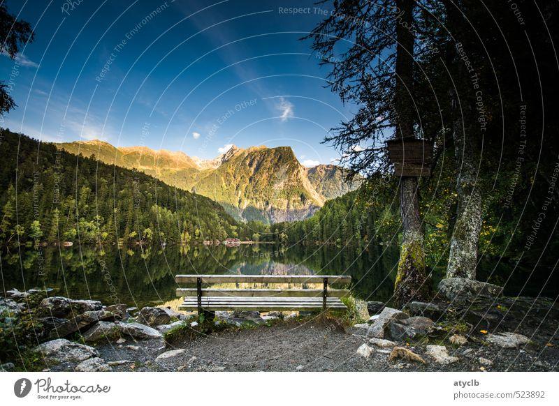 Rast am See Natur blau grün Wasser Erholung Einsamkeit Landschaft ruhig Wald Berge u. Gebirge Schwimmen & Baden braun Zufriedenheit authentisch wandern