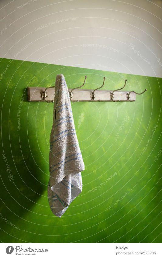 abhängen und warten Lifestyle Stil Wellness Schwimmen & Baden Häusliches Leben Kleiderhaken Handtuchhaken Badetuch ästhetisch Originalität positiv grün weiß
