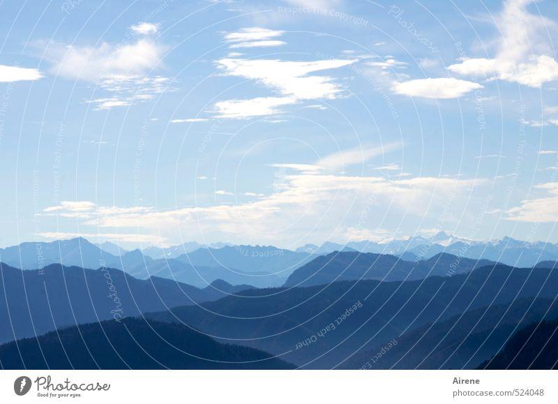 Zwei-Gipfel-Tour   unverbaubarer Bergblick Himmel Natur blau schön weiß Wolken Ferne Berge u. Gebirge oben frei Schönes Wetter ästhetisch Ewigkeit Alpen Fernweh