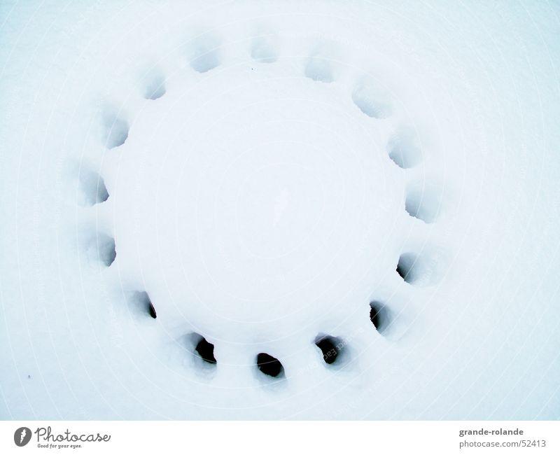 Schnee Gulli Straße Luft frei Kreis Punkt verstecken Loch Gully bedecken zudecken Kanalisation herausschauen
