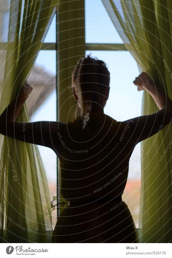 Neustart ruhig Häusliches Leben Mensch feminin Junge Frau Jugendliche 1 18-30 Jahre Erwachsene Fenster Blick Neugier Gefühle Stimmung Hoffnung Traurigkeit