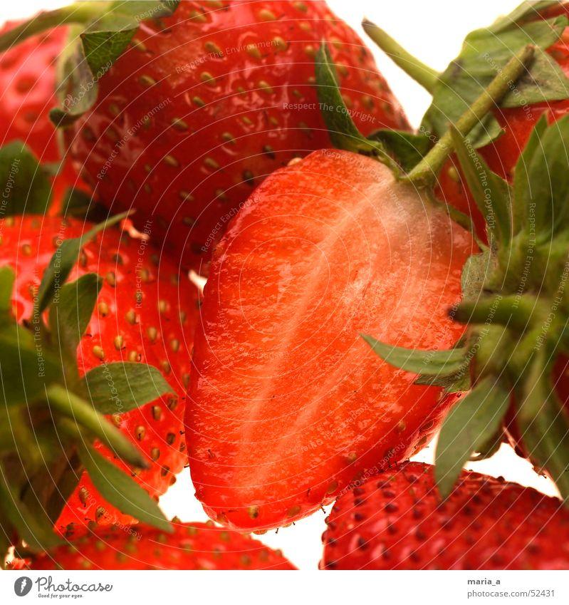 Erdbeeren fruchtig Gesundheit Blatt grün rot Kerne Vitamin Frucht satig gesünder querschnitt Beeren