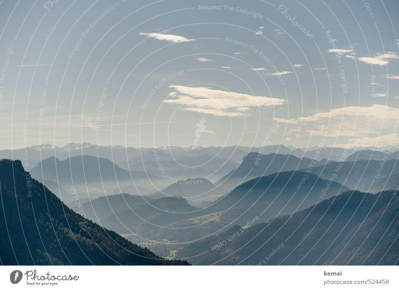 Zwei-Gipfel-Tour | Wasserwandblick Himmel Natur blau Pflanze Landschaft ruhig Wolken Ferne Wald Umwelt Berge u. Gebirge Herbst Horizont Nebel frei groß