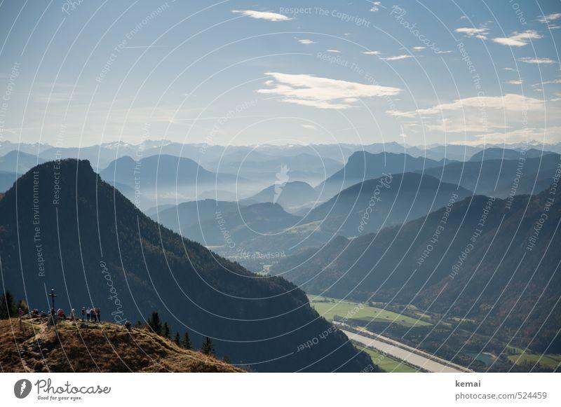 Zwei-Gipfel-Tour | Kaiserwetter Himmel Natur Ferien & Urlaub & Reisen blau Pflanze Sonne Landschaft ruhig Wolken Ferne Wald Umwelt Berge u. Gebirge Herbst