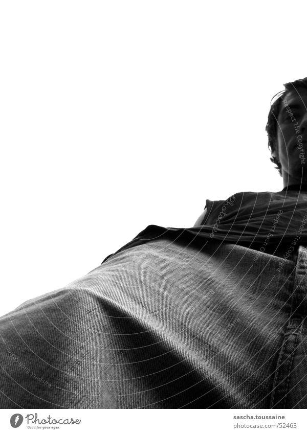 """half-baked"" oder auch ""fifty-fifty"" Kerl Typ Blick Hose Jeanshose Jeansstoff T-Shirt Hemd Stoff schwarz grau weiß Welt-Astra-Tag Erde Hardcore Perspektive Mann"