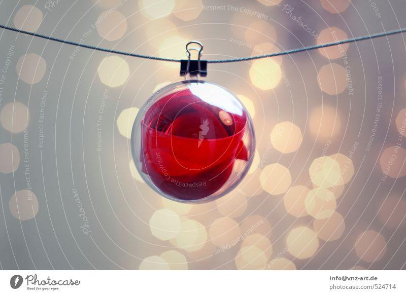 Loop Weihnachten & Advent rot Feste & Feiern Kunststoff Kugel hängen Schweben Blase Schleife