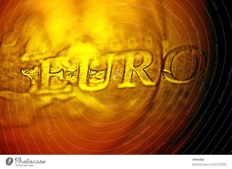 EURO Geldmünzen Europa Kapitalwirtschaft Börse Dinge Makroaufnahme Geldinstitut