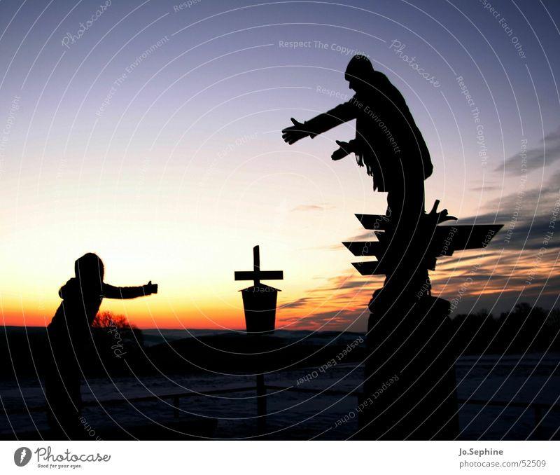 Komm' zu mir! Mensch Freundschaft Paar 2 Himmel Sonnenaufgang Sonnenuntergang Kommunizieren Umarmen Zusammensein Kitsch Liebe Romantik Mitgefühl Güte Sehnsucht