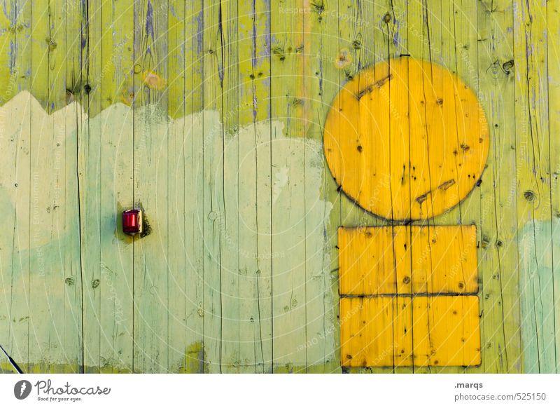 Gebrettert Lifestyle Stil Mauer Wand Holz Linie schön gelb grün Farbe Holzwand Symbole & Metaphern Kreis Farbfoto Außenaufnahme Nahaufnahme abstrakt
