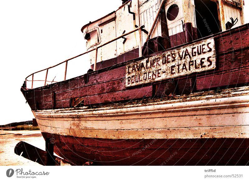 Altes Boot Wasserfahrzeug Normandie Verfall alt