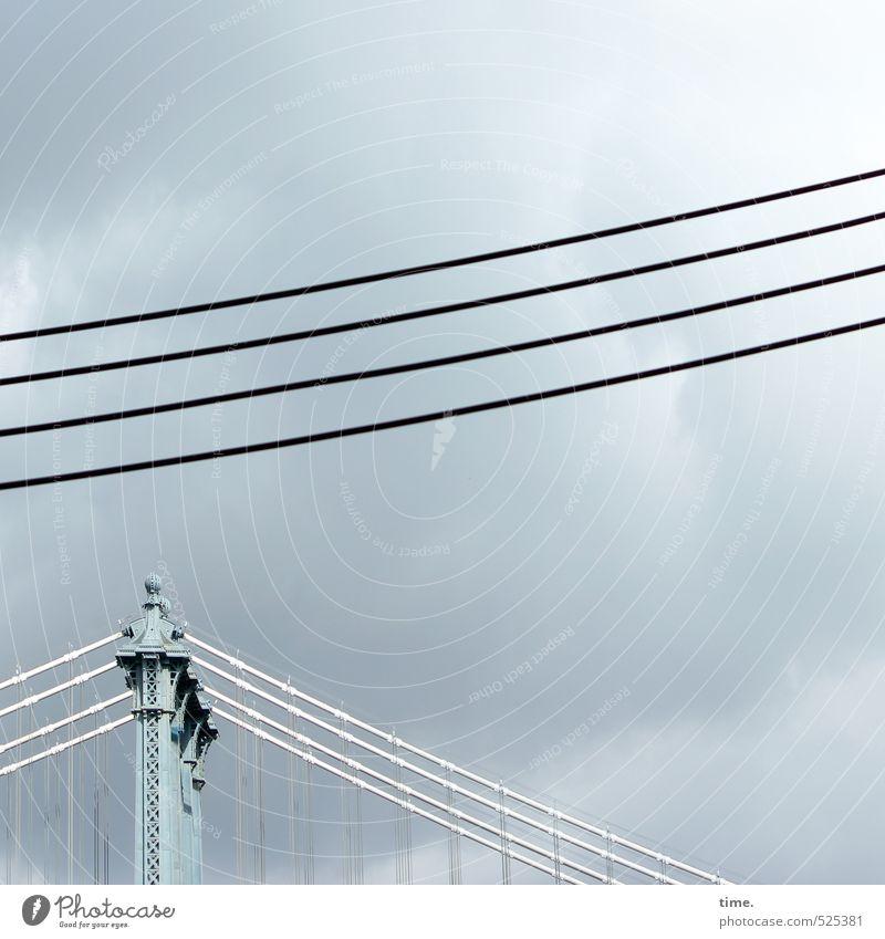 skylines Himmel Stadt Wolken Wege & Pfade Stimmung Energiewirtschaft Ordnung Perspektive ästhetisch Technik & Technologie Brücke einzigartig Kabel