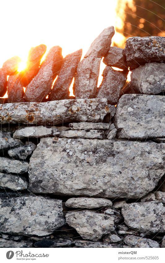 French Style XXIII Kunst ästhetisch Zufriedenheit Kontinuität Mauer Mauerstein Mauerreste Zaun Stein Frankreich Sonnenlicht Sonnenuntergang Romantik