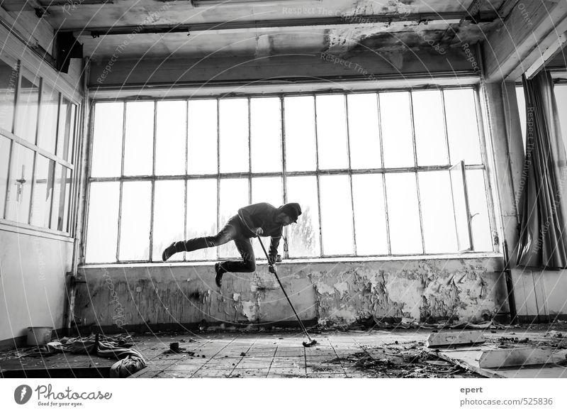 ut ruhrgebiet | Endreinigung Handwerker Raumpfleger Hausmeister Arbeitsplatz Baustelle Fabrik Mann Erwachsene 1 Mensch Industrieanlage Ruine Besen