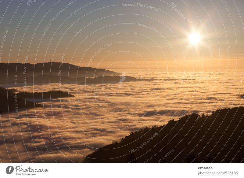 Inversion Sun Himmel Natur Ferien & Urlaub & Reisen Sonne Landschaft Wolken Wald gelb Berge u. Gebirge Herbst Horizont Luft Wetter Nebel Klima wandern