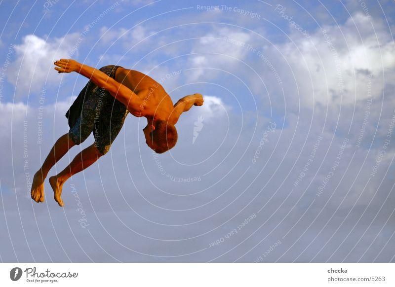 basejump Mann Wolken Sport springen fliegen Aktion sportlich Athlet