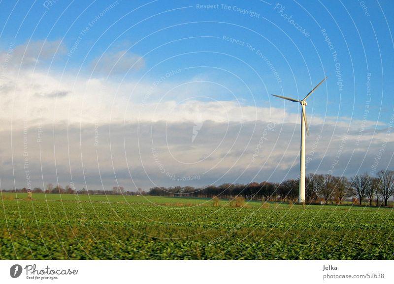 Brandenburg Windkraftanlage Himmel Wolken Gras Wiese Feld Fernweh Stromkraftwerke landscaft landscape field fields clouds sky Farbfoto