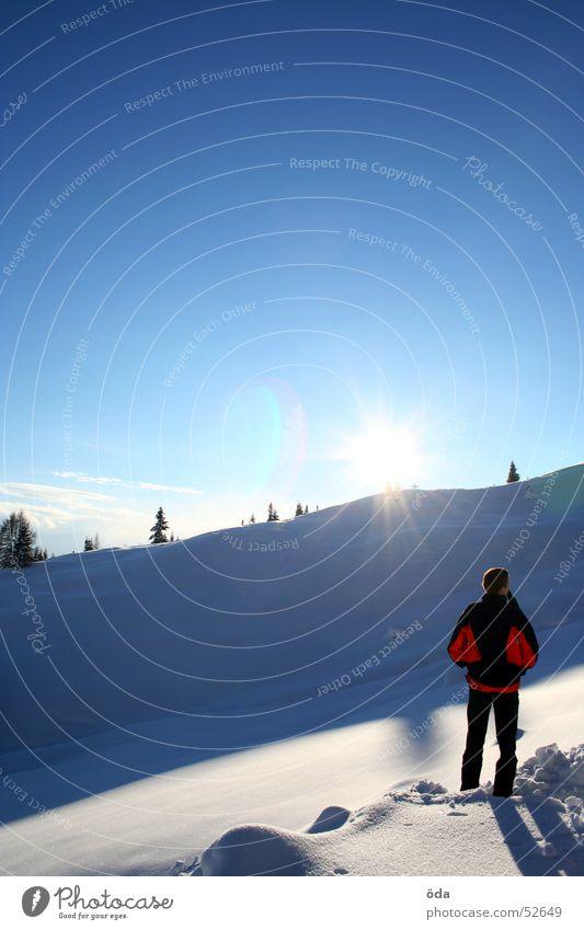 Himmel - Sonne - Schnee Baum Tiefschnee Winter kalt Jacke extrem Mann genießen Mensch Aussicht