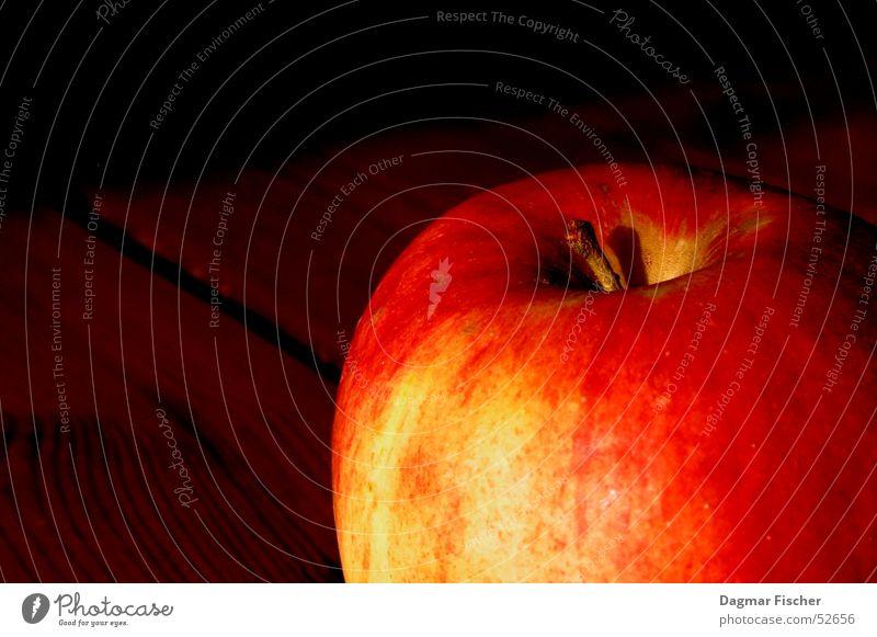 Apple on Wood Sonne rot gelb Farbe Holz braun Gesundheit Frucht Bodenbelag Apfel Stengel Gemüse lecker Baumstamm Fleck Vitamin