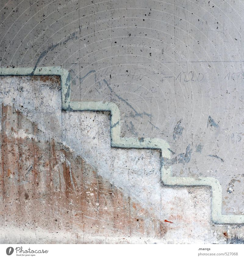 Ab Handwerk Baustelle Mauer Wand Beton Linie Treppe hell grau Ordnung planen abwärts eckig Farbfoto Gedeckte Farben abstrakt Muster Strukturen & Formen