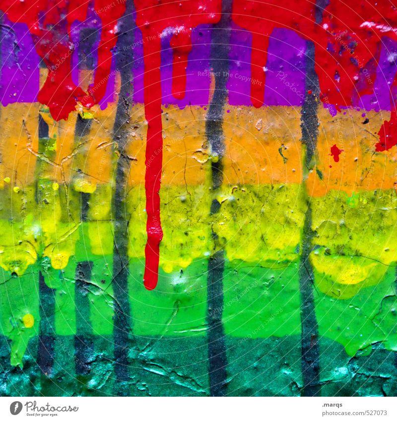 Rot auf bunt Farbe Graffiti Wand Farbstoff Mauer Stil elegant Lifestyle Design verrückt Coolness Kreativität trendy Flüssigkeit Irritation Anstreicher