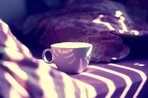 Guten Morgen Kaffeetrinken Stimmung aufstehen genießen Erholung Farbfoto Tag Licht Schatten Sonnenlicht