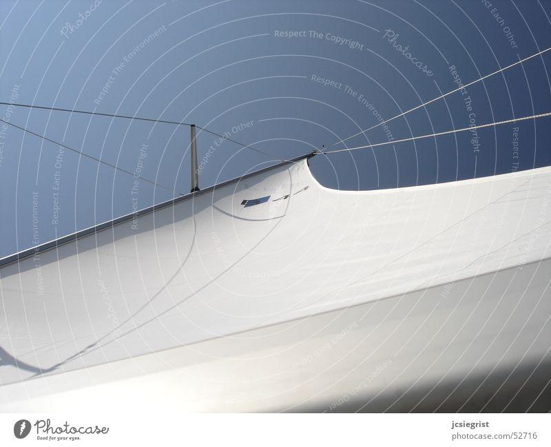 Bluehorizon weiß Wasserfahrzeug Segeln Segelboot blau Himmel Strommast Wind
