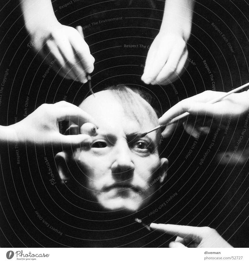 House of Wax Hand Gesicht dunkel Kopf Handwerk Skulptur Kunst unvollendet Handarbeit Wachsfigur