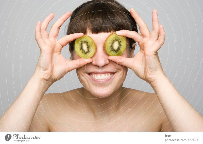 fruchtig V Jugendliche schön Junge Frau Freude Leben Gesunde Ernährung lustig Glück Gesundheit Frucht Zufriedenheit Fröhlichkeit genießen Ernährung niedlich Lebensfreude