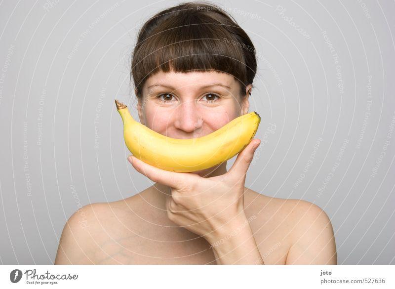 200 - freu Jugendliche nackt Junge Frau Freude gelb Leben feminin Gesunde Ernährung lachen Glück Gesundheit Lebensmittel Frucht Zufriedenheit Lächeln frisch