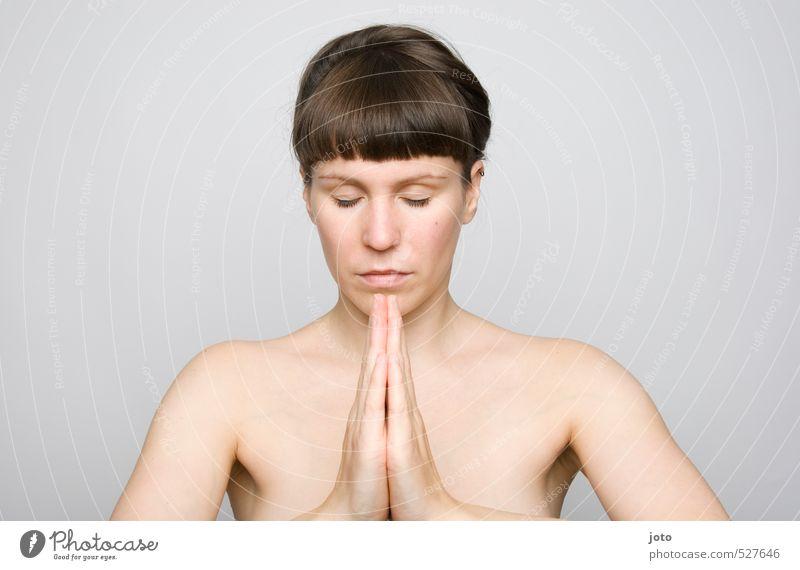 zur mitte finden Jugendliche schön nackt Erholung Junge Frau ruhig Leben Religion & Glaube Gesundheit natürlich Haut Zufriedenheit frei Wellness Frieden