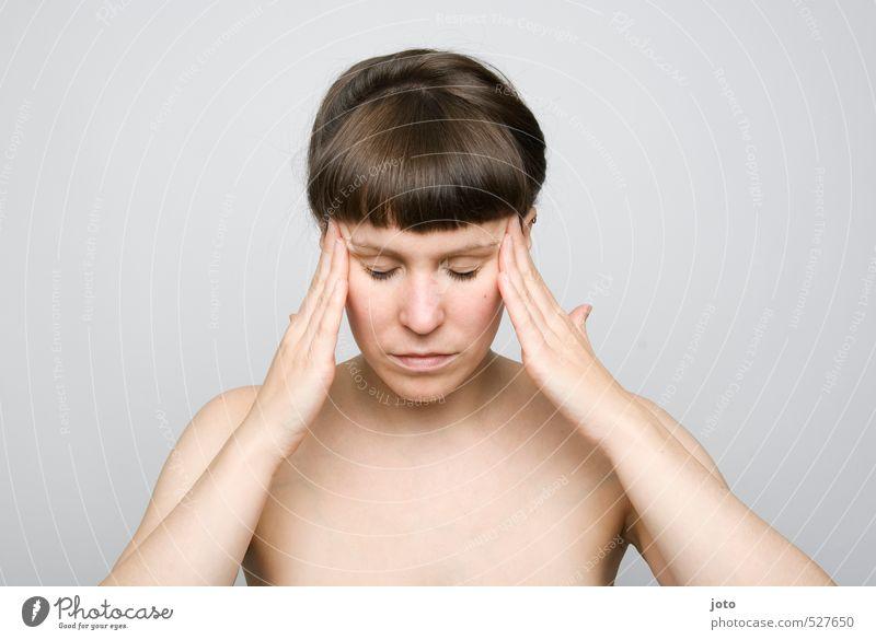 fokus schön Gesundheit harmonisch Wohlgefühl Zufriedenheit Sinnesorgane Erholung ruhig Meditation Junge Frau Jugendliche Denken Kraft geduldig vernünftig