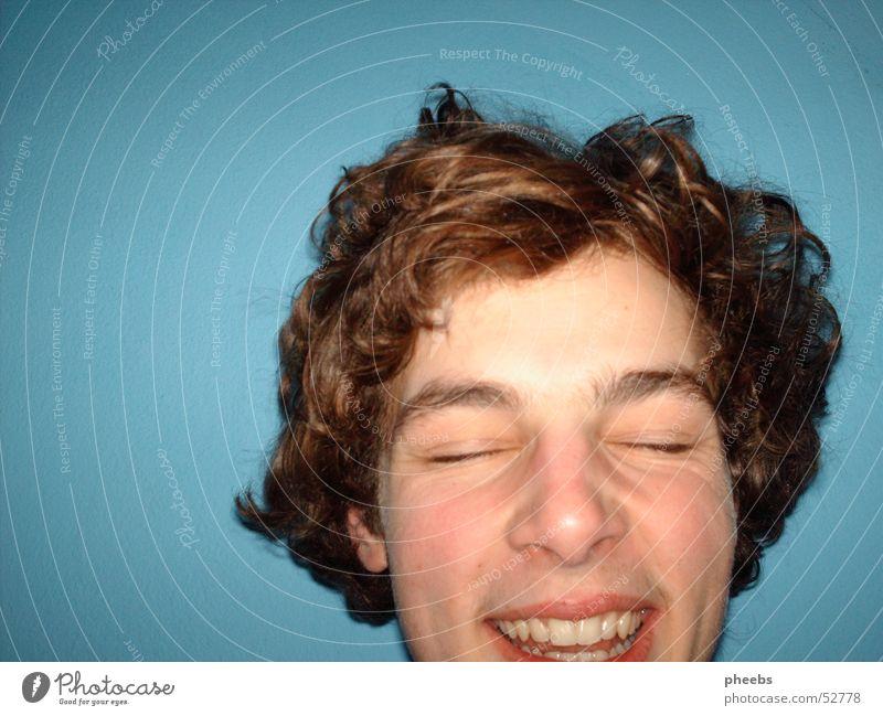 ja, da ist jemand! Porträt türkis Lippen Mann Gesicht Locken Haare & Frisuren Auge fantastisch lachen Mund Kopf Zähne