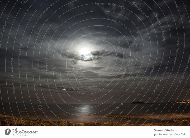 Portmarnock Wasser Wolken Nachthimmel Horizont Mond Vollmond Hügel Wellen Küste Meer Luftverkehr Flugzeug träumen Mitternacht Republik Irland Felsen