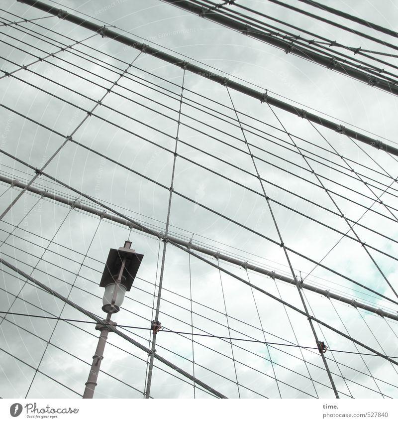 spekulativ Himmel Wolken New York City Stadtzentrum Brücke Bauwerk Architektur Straßenbeleuchtung Seil Stahlkabel Brooklyn Bridge Linie Netz Erwartung