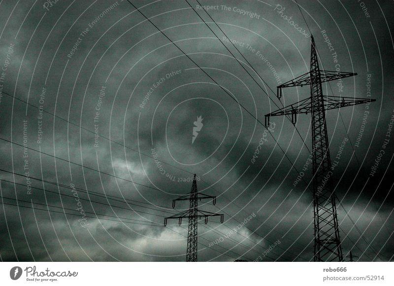 Mast Himmel Wolken Strommast