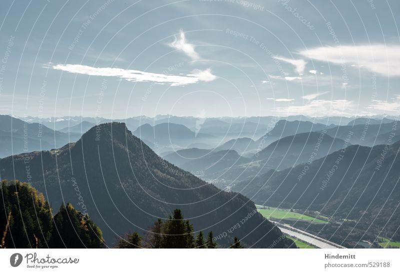 Zwei-Gipfel-Tour | Unterhalbderwasserwandblick Ausflug Berge u. Gebirge Umwelt Himmel Wolken Herbst Schönes Wetter Wiese Wald Hügel Felsen Alpen Fluss Inn eckig
